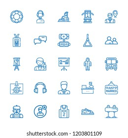 Collection of 25 man outline icons include icons such as rescue, suit, school bus, headset, user, avatar, basketball jersey, pommel horse, sport shoe, virtual reality, working