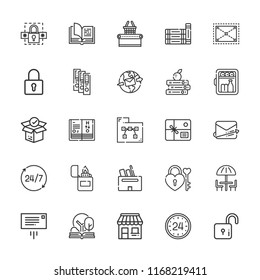 Collection of 25 open outline icons include icons such as hours, parcel, minibar, padlock, mailing, package, shop, folder, binder, umbrella, expand, lighter, science book