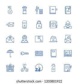 Collection of 25 open outline icons include icons such as email, package, umbrella, minibar, book, invitation, key, open book, filing cabinet, science book, notepad, lock