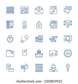 Collection of 25 open outline icons include icons such as hours, message, doorknob, minibar, folder, files and folders, key, new file, book, mail, cutting, postcard, email