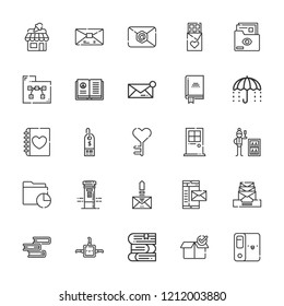 Collection of 25 open outline icons include icons such as minibar, open book, files and folders, package, folder, book, key, chocolate, shop, message, box, email, mail