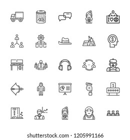Collection of 25 person outline icons include icons such as presentation, ecologist, network, suit, headset, archery, shooting, head, employees, desk, conversation, artist