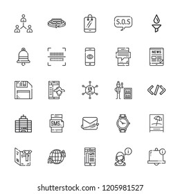 Collection of 25 phone outline icons include icons such as operator, filter, bar code, minibar, tablet, office, wristwatch, smartphone, mailing, augmented reality, bell