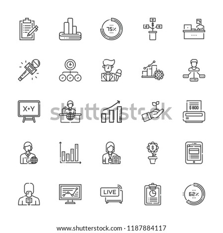 Collection Of 25 Report Outline Icons Include Such As Live News Stats Bar