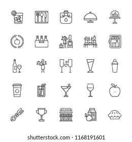 Collection of 25 restaurant outline icons include icons such as minibar, pastry chef, tongs, cup, healthy food, canteen, coffee cup, margarita, serving dish, coffee, wine