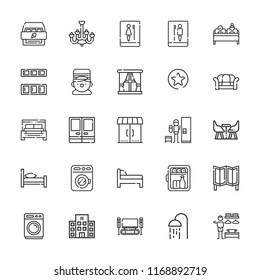 Collection of 25 room outline icons include icons such as washing machine, bellboy, minibar, double bed, hotel, shower, favorites button, bed, cabinet, doors, home cinema