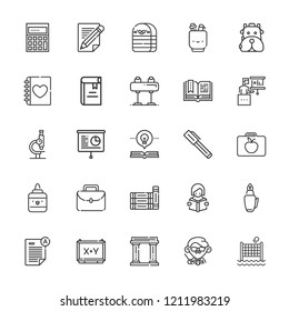 Collection of 25 school outline icons include icons such as pen, backpack, book, pommel horse, presentation, microscope, museum, lunchbox, teacher, exam, board, books, pencil