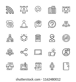 Collection of 25 social outline icons include icons such as networking, customer, question, post, chat, suit, fax, like, favorites, rss, share, user, address book, audience