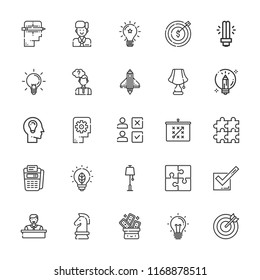 Collection of 25 solution outline icons include icons such as point of service, target, puzzle, light bulb, lamp, tactics, idea, thinking, creative, startup, ideas, employee