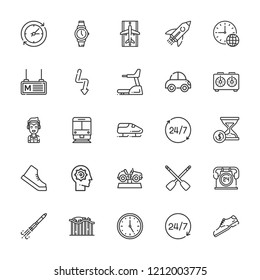 Collection of 25 speed outline icons include icons such as hours, clock, time, shoe, bobsleigh, chess clock, rowing, treadmill, train, management, rocket, flash, rocket ship