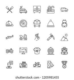 Collection of 25 sport outline icons include icons such as pool, car, tactics, archery, biathlon, bobsleigh, curling, ice ax, motorbike, polo, quad, minibus, shirt, paddles