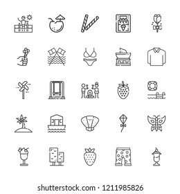 Collection of 25 summer outline icons include icons such as pinwheel, swimming pool, kite, flower, house boat, palm tree, tree, ice cream, ice cream machine, smore, rose
