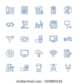 Collection of 25 technology outline icons include icons such as computer, phone call, minibar, calculator, stethoscope, helicopter, mixer blender, mars rover, mobile phone