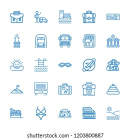 Collection of 25 tourism outline icons include icons such as valet, minibar, pyramid, briefcase, swimming, underground, backpack, mountain, school bus, bikini, tent, luggage