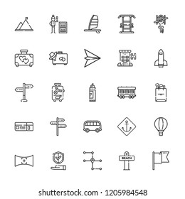 Collection of 25 travel outline icons include icons such as minibar, windsurf, paper plane, hot air balloon, spaceship, mountain, bus, railway, suitcase, field of view, flag
