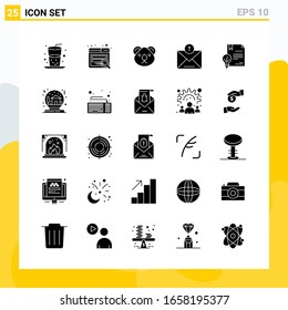 Collection of 25 Universal Solid Icons. Icon Set for Web and Mobile.