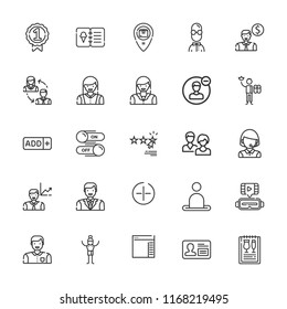 Collection of 25 user outline icons include icons such as add button, telemarketer, user, users, ar glasses, side menu, menu, switch, rating, worker, man, employee, badge