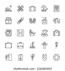 Collection of 25 vacation outline icons include icons such as suitcase, concierge, passport, ironing service, deck chair, minibar, room service, kite, briefcase, kitesurfing