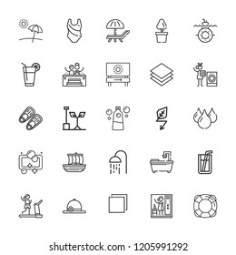 Collection of 25 water outline icons include icons such as green energy, planting, gym, laundry, water, shower, fins, swimming suit, submarine, multi tab, soft drink, pamela