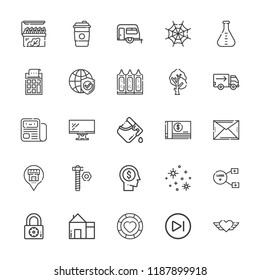 Collection of 25 web outline icons include icons such as casino chip, truck, screw, newspaper, flask, medicine, padlock, next, house, head, trailer, calculator, sharing, heart