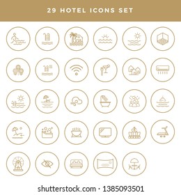 A collection of 29 icons, for hotel amenities