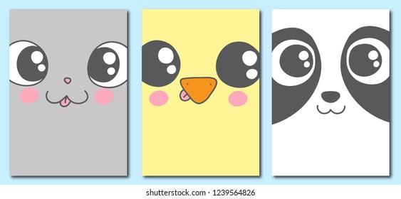 Collection of 3 baby cards and posters made in cartoon style. Set with cute hand drawn animal faces - cat, chick and panda. Colorful vector illustration. EPS8 vector.