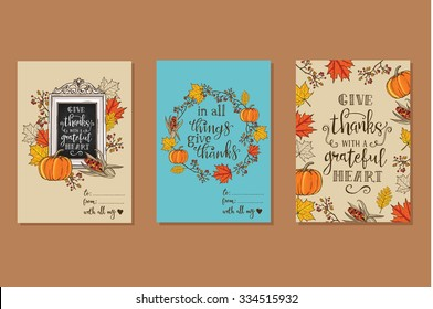 Collection of 3 creative Thanksgiving day greeting cards. Maple and oak leaves, branches and berries, pumpkin, indian corn, chalkboard with lettering