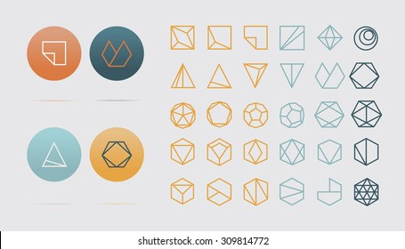 Collection of 30 geometric shapes. Hexagons, Triangles, Squares,Circles, Crystals Line design elements.Trendy hipster icon,logo, logotypes. Vector illustration. Isolated
