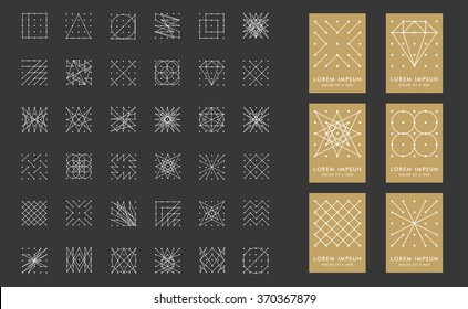 Collection of 36 icon,6 stylish gold Logo.Signs,Logo,Element,Label,Hang tag,diamond,circle.Template for design.Hipster style.Geometry Pattern, Square Pattern.Trendy colors.Vector illustration.Isolated