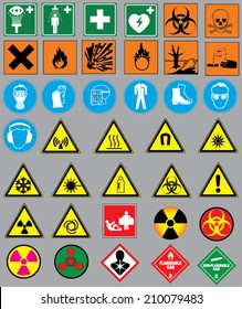 Collection of 38 safety and warning signs. Warning icons and signs for chemistry and laboratory.