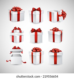 Collection of 3d gift boxes with satin red bows. Realistic vector illustration.