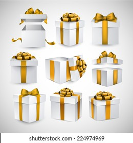 Collection of 3d gift boxes with satin golden bows. Realistic vector illustration.