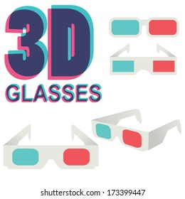 collection of 3d glasses isolated on white, vector illustration