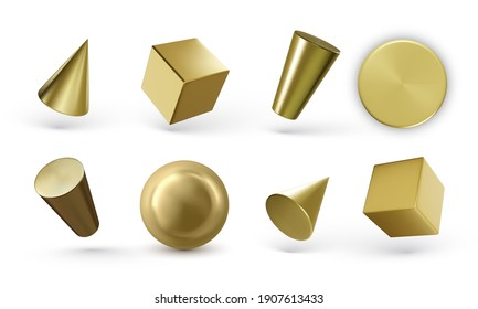 Collection of 3d golden geometric shapes with shadow isolated on white background. Realistic geometry elements. Render decorative sapphirine figure for design. Vector illustration