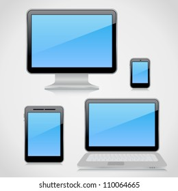 Collection of 3d high-detailed computer devices on light background with reflections. Image contains transparency, 10 EPS
