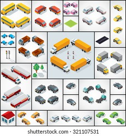 Collection of 3D Isometric Cars,Trucks, Buses, Vans. Vector Icon Set