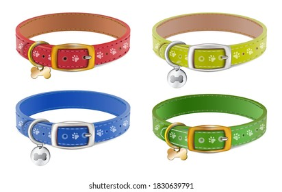 Collection of 3d realistic vector dog or cat collars in blue, red, yellow, green with silver medal. Isolated on white background.