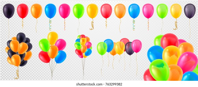 Collection of 3d realistic vector helium balloons (red, gold, yellow, purple, blue, green...) for birthday, party, celebration flying baloon design, isolated on transparent background, white.