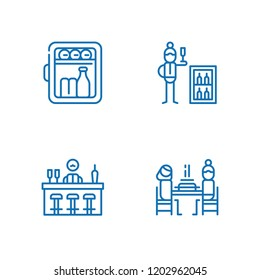 Collection of 4 beer outline icons include icons such as bar, minibar