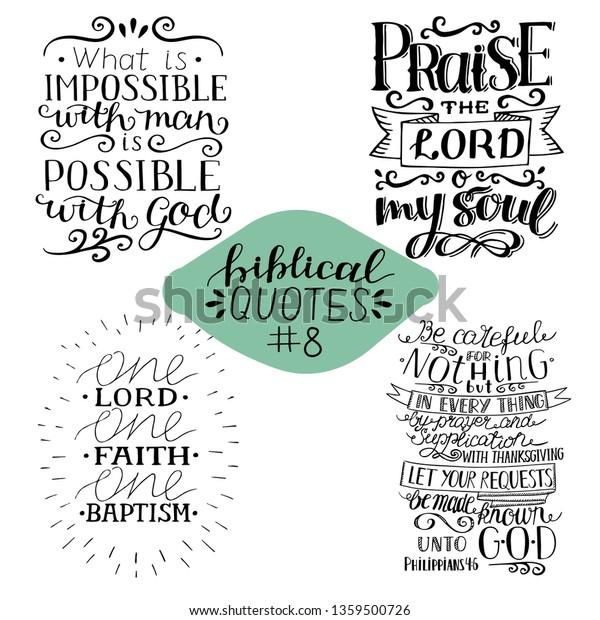 Collection 4 4 Bible Verses Praise Stock Vector (Royalty