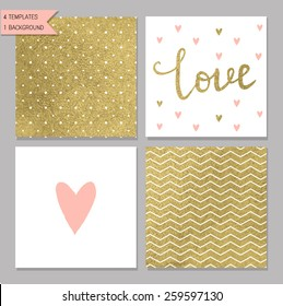 Collection of 4 card templates. Could use as seamless tile pattern. Trendy gold style  Perfect for valentines day, birthday, save the date invitation