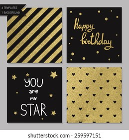 Collection of 4 card templates. Could use as seamless tile pattern. Trendy gold style  Perfect for valentines day, birthday, save the date invitation. You are my star