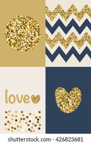 Collection of 4 card templates. Trendy gold style