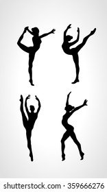 Collection 4 Creative silhouettes of gymnastic girls. Art gymnastics set, black and white vector illustration
