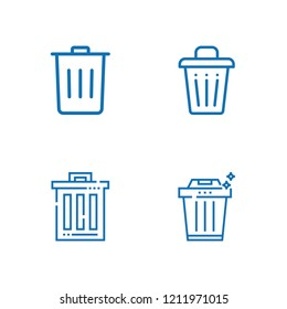 Collection of 4 dustbin outline icons include icons such as