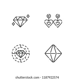 Collection of 4 gem outline icons include icons such as minerals, diamond