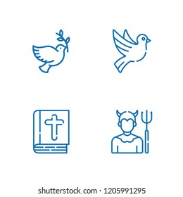 Collection of 4 heaven outline icons include icons such as dove, devil