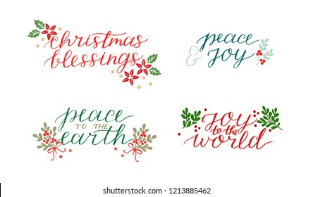 Collection with 4 Holiday cards made hand lettering Christmas blessings Peace to the earth. Joy to world. Biblical background. Christian poster. Modern calligraphy Greetings
