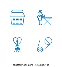 Collection of 4 iron outline icons include icons such as ironing service, eiffel tower, safety pin