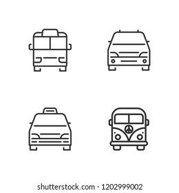 Collection of 4 minivan outline icons include icons such as minivan, minibus